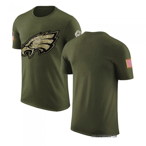 Men's Blank Philadelphia Eagles Olive Salute to Service Legend T-Shirt