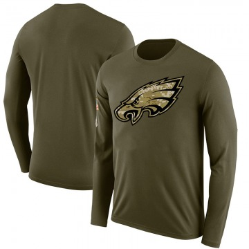 Men's Blank Philadelphia Eagles Salute to Service Sideline Olive Legend Long Sleeve T-Shirt