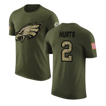 Men's Jalen Hurts Philadelphia Eagles Olive Salute to Service Legend T-Shirt