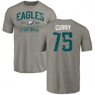 Men's Vinny Curry Philadelphia Eagles Gray Distressed Name & Number Tri-Blend T-Shirt