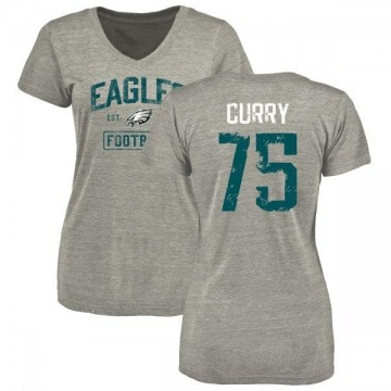 Women's Vinny Curry Philadelphia Eagles Heather Gray Distressed Name & Number Tri-Blend V-Neck T-Shirt