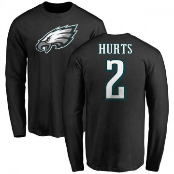Youth Jalen Hurts Philadelphia Eagles Name & Number Logo Long Sleeve T-Shirt - Black