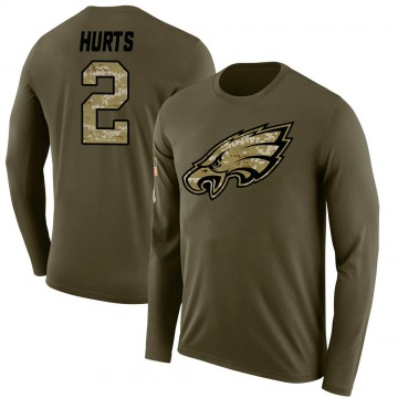 Youth Jalen Hurts Philadelphia Eagles Salute to Service Sideline Olive Legend Long Sleeve T-Shirt